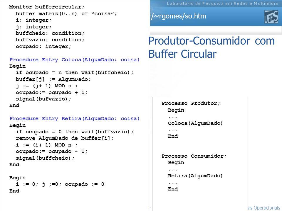http://www.inf.ufes.br/~rgomes/so.htm 16 Sistemas Operacionais LPRM/DI/UFES Monitor buffercircular; buffer matriz(0..n) of coisa; i: integer; j: integ