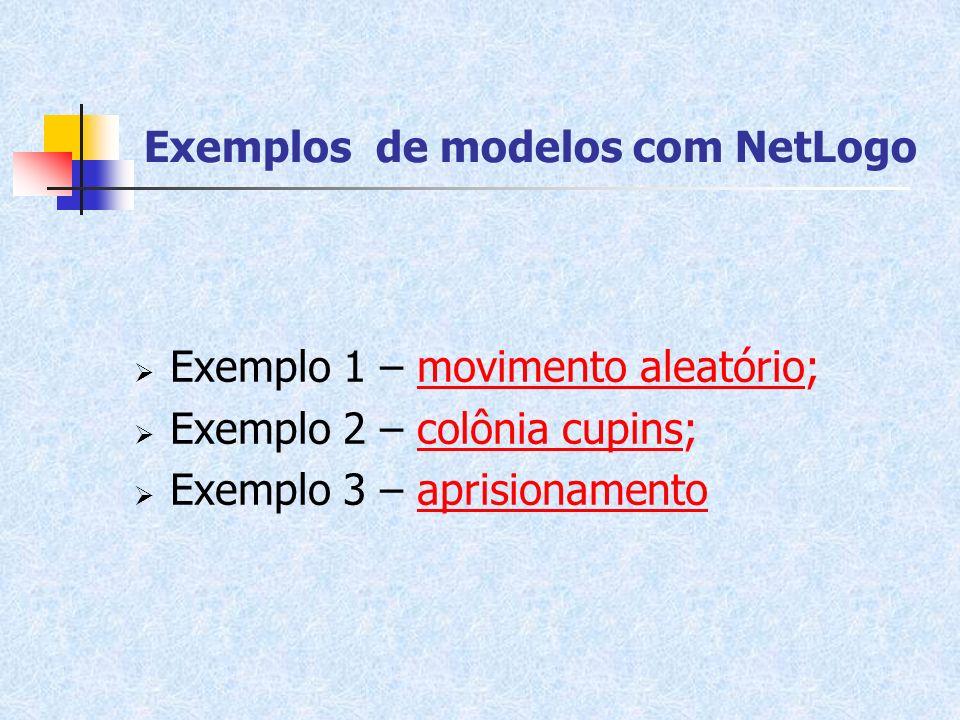 Exemplos de modelos com NetLogo Exemplo 1 – movimento aleatório;movimento aleatório Exemplo 2 – colônia cupins;colônia cupins Exemplo 3 – aprisionamen