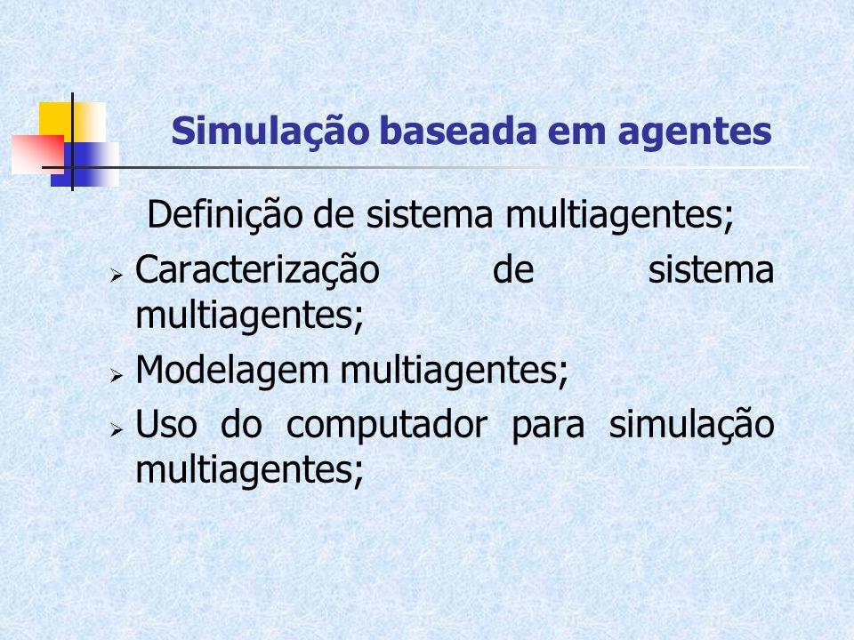 Simulação baseada em agentes Definição de sistema multiagentes; Caracterização de sistema multiagentes; Modelagem multiagentes; Uso do computador para