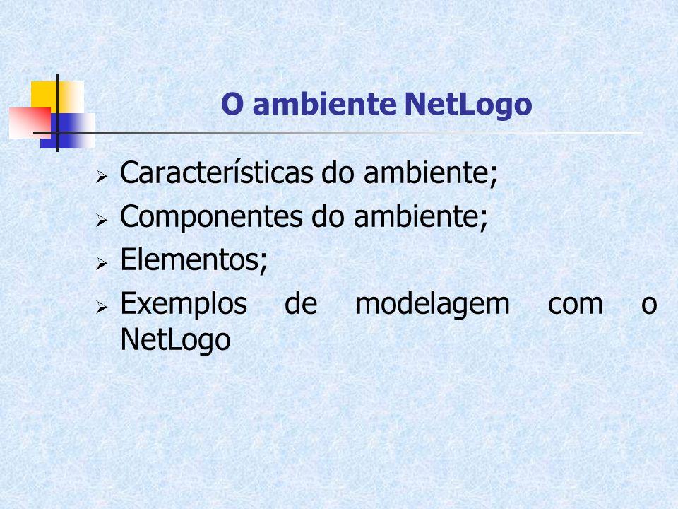 O ambiente NetLogo Características do ambiente; Componentes do ambiente; Elementos; Exemplos de modelagem com o NetLogo