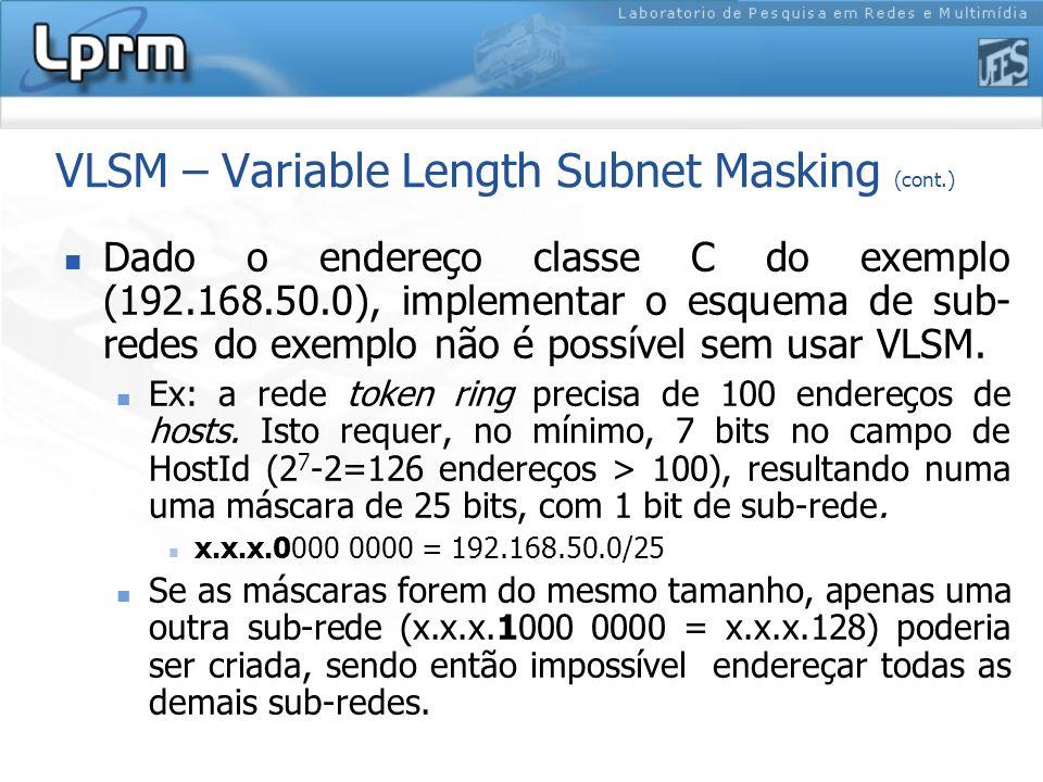 VLSM – Variable Length Subnet Masking (cont.) Dado o endereço classe C do exemplo (192.168.50.0), implementar o esquema de sub- redes do exemplo não é