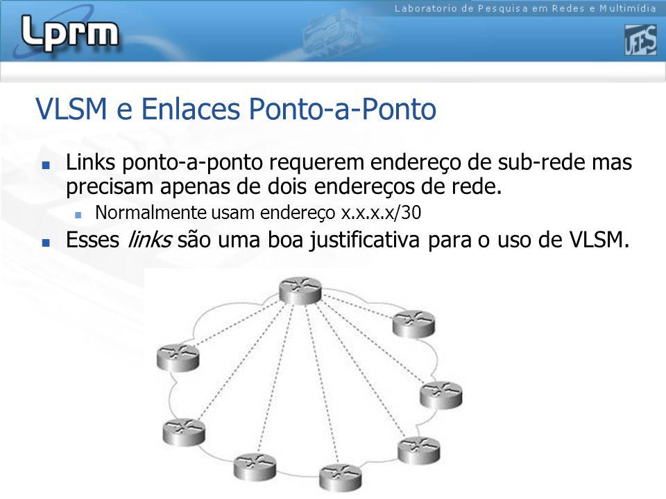 VLSM e Enlaces Ponto-a-Ponto Links ponto-a-ponto requerem endereço de sub-rede mas precisam apenas de dois endereços de rede. Normalmente usam endereç