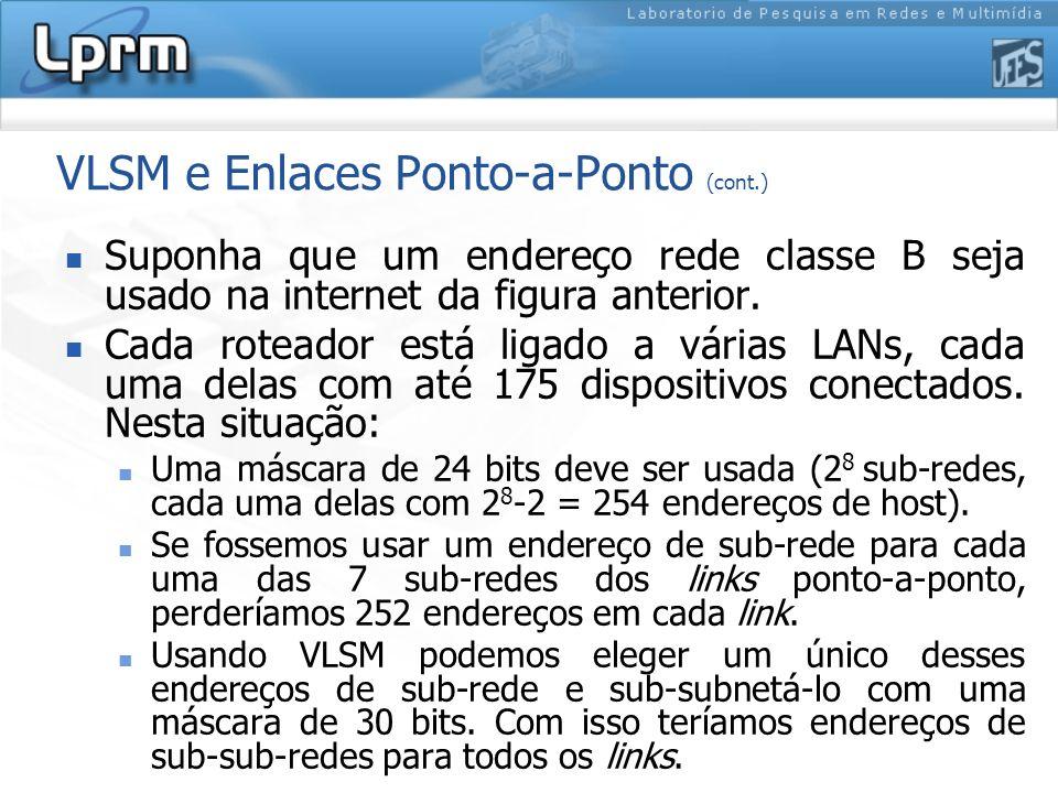 VLSM e Enlaces Ponto-a-Ponto (cont.) Suponha que um endereço rede classe B seja usado na internet da figura anterior. Cada roteador está ligado a vári