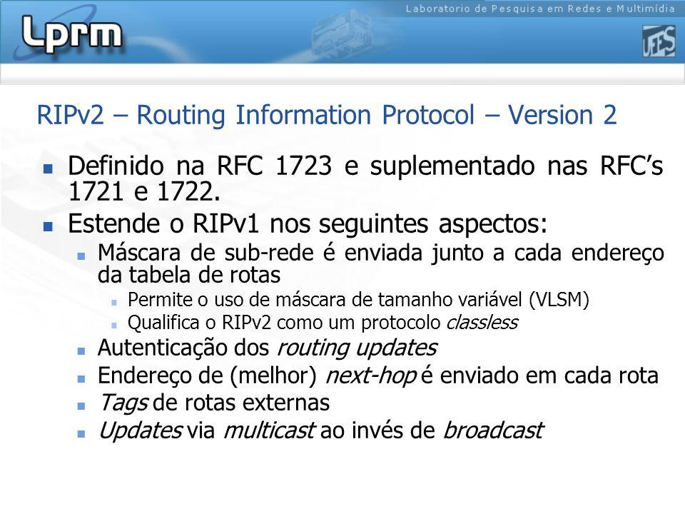 RIPv2 – Routing Information Protocol – Version 2 Definido na RFC 1723 e suplementado nas RFCs 1721 e 1722. Estende o RIPv1 nos seguintes aspectos: Más