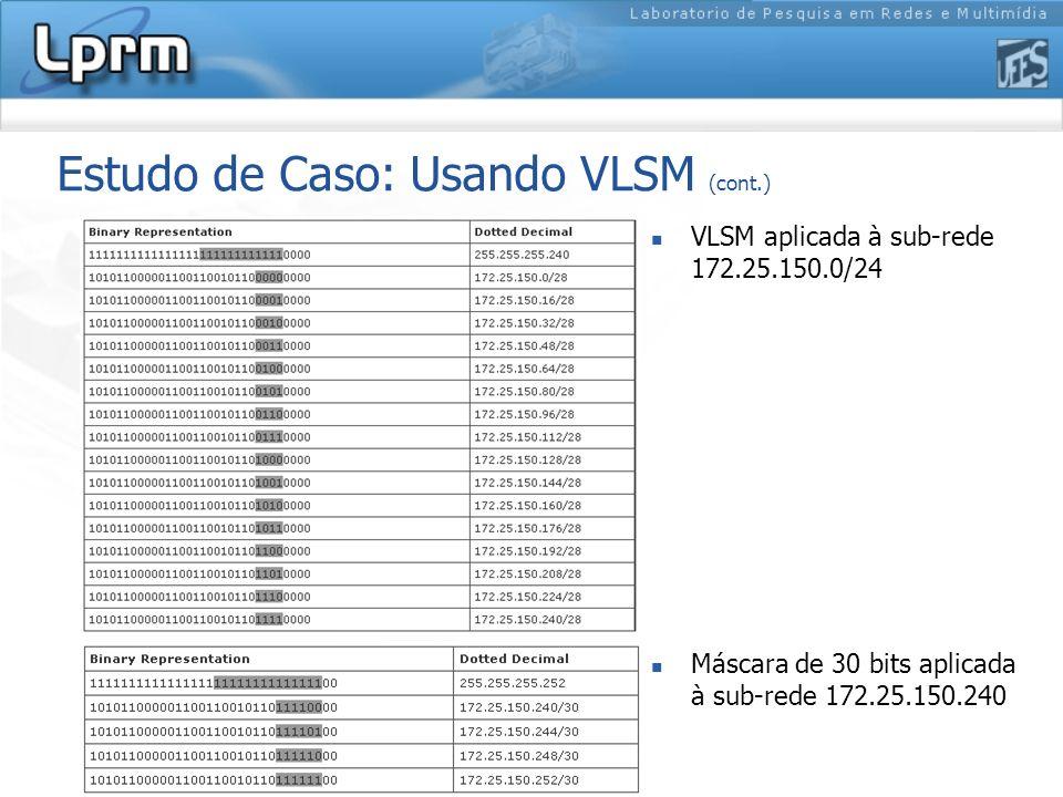 Estudo de Caso: Usando VLSM (cont.) VLSM aplicada à sub-rede 172.25.150.0/24 Máscara de 30 bits aplicada à sub-rede 172.25.150.240