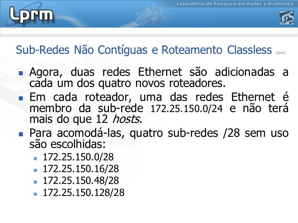 Sub-Redes Não Contíguas e Roteamento Classless (cont.) Agora, duas redes Ethernet são adicionadas a cada um dos quatro novos roteadores. Em cada rotea