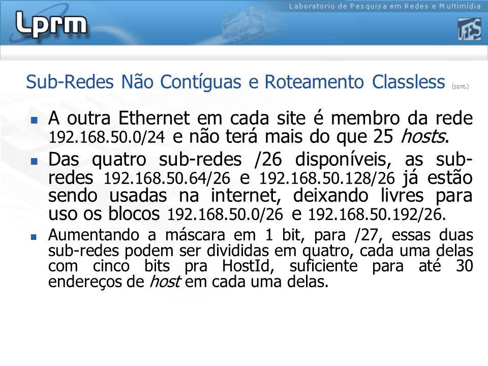 Sub-Redes Não Contíguas e Roteamento Classless (cont.) A outra Ethernet em cada site é membro da rede 192.168.50.0/24 e não terá mais do que 25 hosts.
