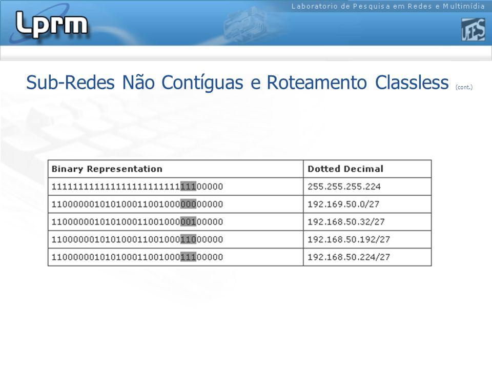 Sub-Redes Não Contíguas e Roteamento Classless (cont.)