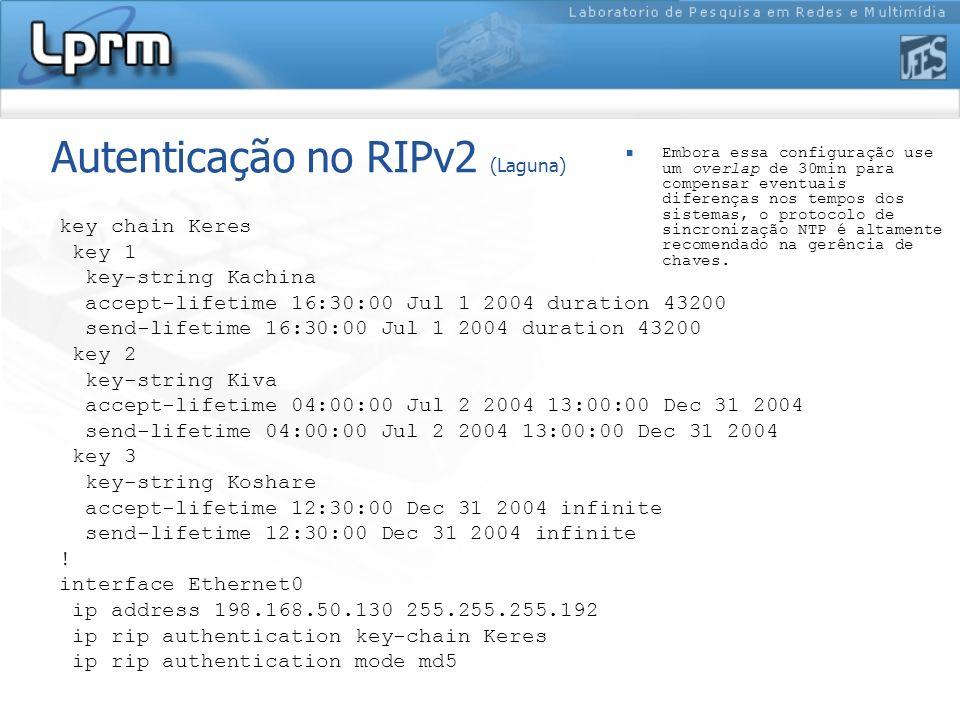 Autenticação no RIPv2 (Laguna) key chain Keres key 1 key-string Kachina accept-lifetime 16:30:00 Jul 1 2004 duration 43200 send-lifetime 16:30:00 Jul