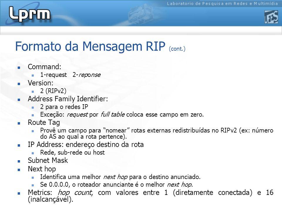 Formato da Mensagem RIP (cont.) Command: 1-request 2-reponse Version: 2 (RIPv2) Address Family Identifier: 2 para o redes IP Exceção: request por full