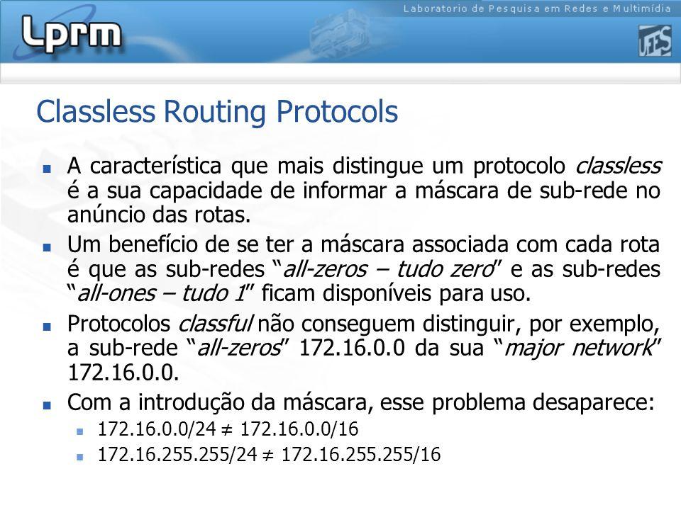 Classless Routing Protocols A característica que mais distingue um protocolo classless é a sua capacidade de informar a máscara de sub-rede no anúncio