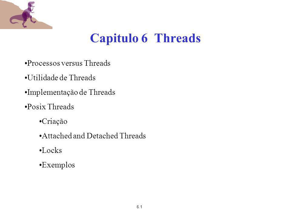 6.12 Thread Usage (2) Esboço do Código para um Web Server Compare com a funcionamento do programa sshd numa maquina linux (secure shell daemon).