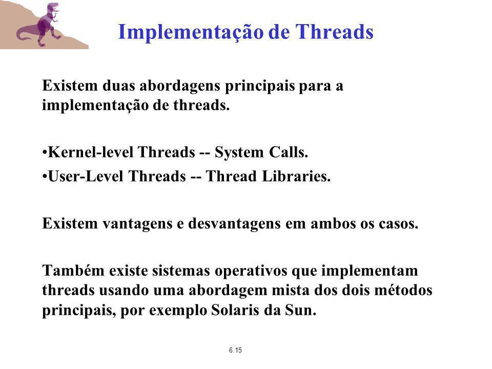 6.15 Implementação de Threads Existem duas abordagens principais para a implementação de threads. Kernel-level Threads -- System Calls. User-Level Thr