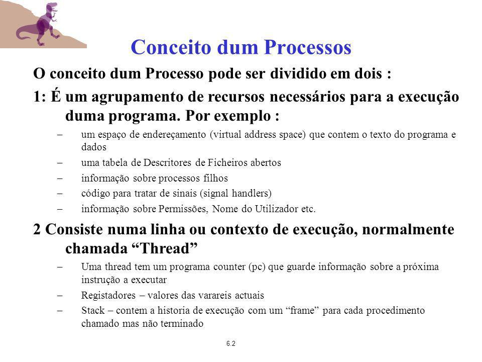6.2 Conceito dum Processos O conceito dum Processo pode ser dividido em dois : 1: É um agrupamento de recursos necessários para a execução duma progra