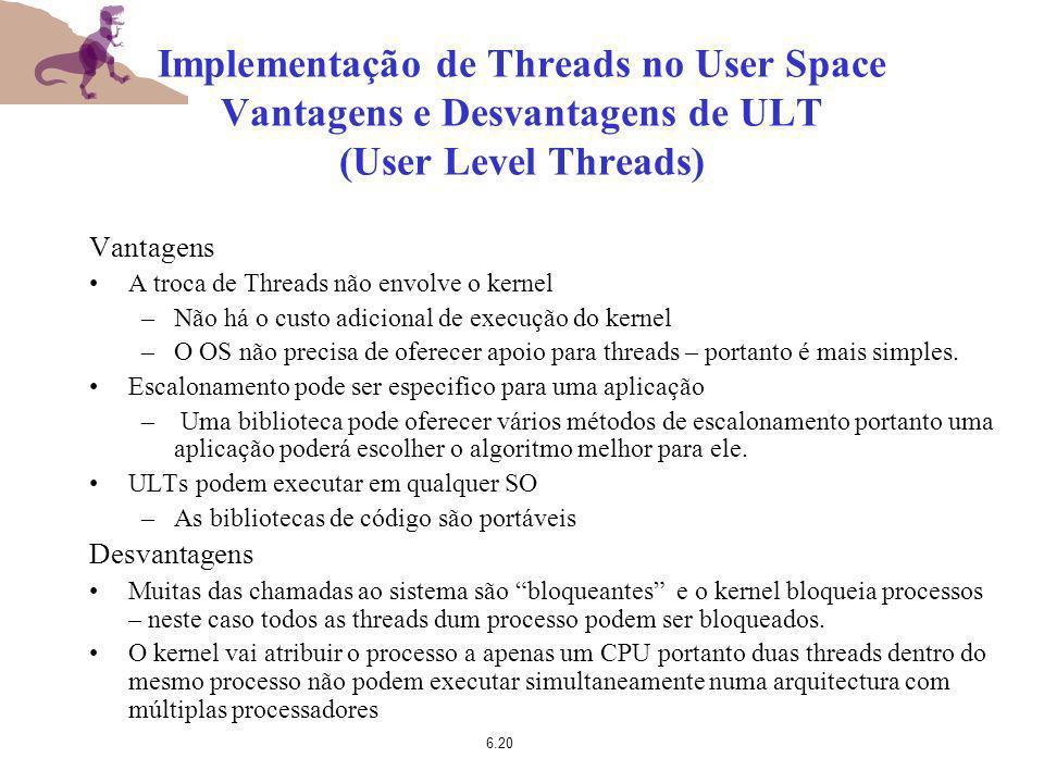 6.20 Implementação de Threads no User Space Vantagens e Desvantagens de ULT (User Level Threads) Vantagens A troca de Threads não envolve o kernel –Nã