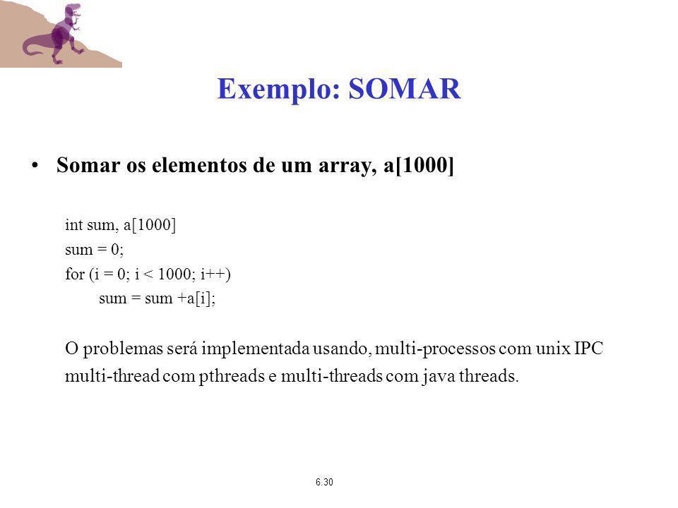 6.30 Exemplo: SOMAR Somar os elementos de um array, a[1000] int sum, a[1000] sum = 0; for (i = 0; i < 1000; i++) sum = sum +a[i]; O problemas será imp