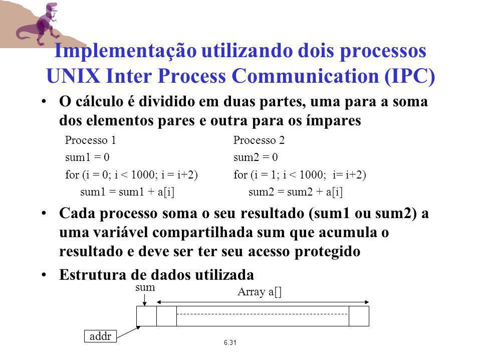 6.31 Implementação utilizando dois processos UNIX Inter Process Communication (IPC) O cálculo é dividido em duas partes, uma para a soma dos elementos