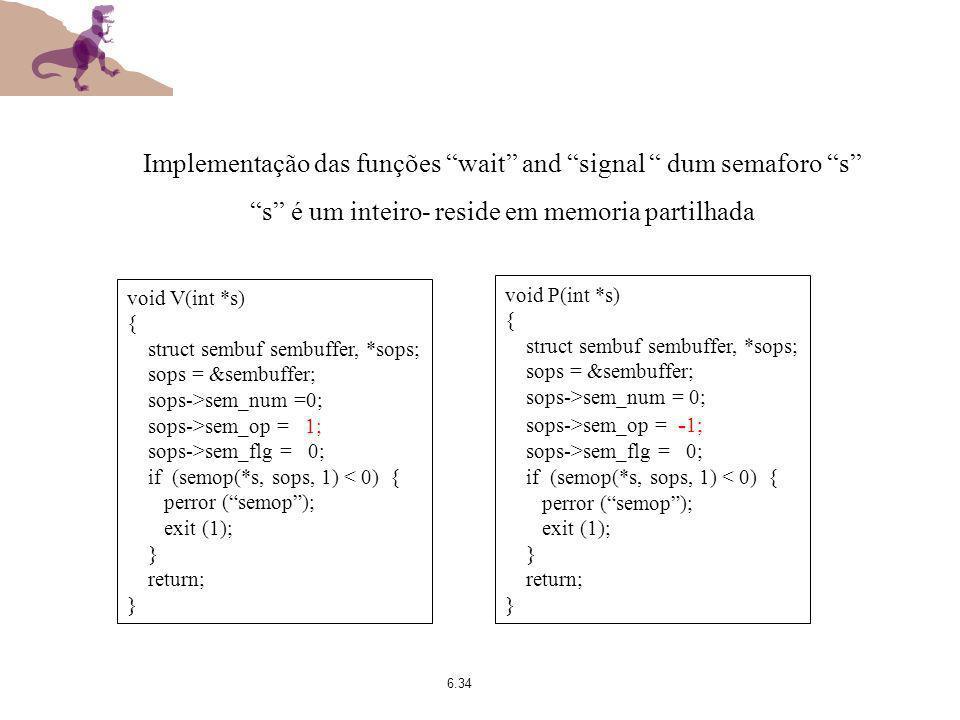 6.34 void V(int *s) { struct sembuf sembuffer, *sops; sops = &sembuffer; sops->sem_num =0; sops->sem_op = 1; sops->sem_flg = 0; if (semop(*s, sops, 1)
