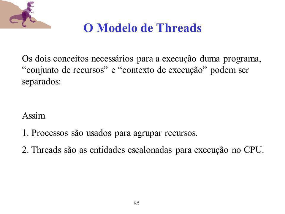 6.5 O Modelo de Threads Os dois conceitos necessários para a execução duma programa, conjunto de recursos e contexto de execução podem ser separados:
