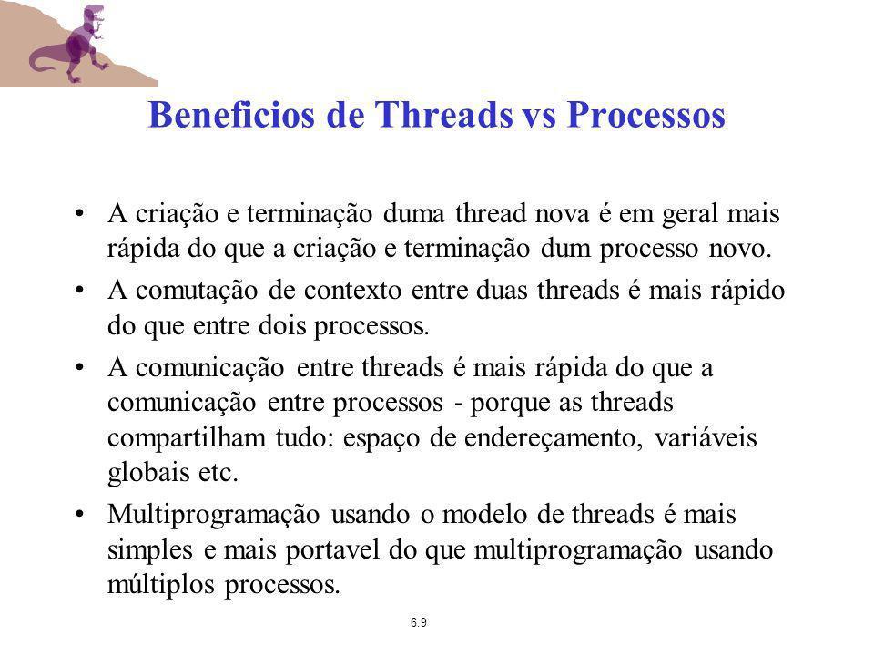 6.9 Beneficios de Threads vs Processos A criação e terminação duma thread nova é em geral mais rápida do que a criação e terminação dum processo novo.