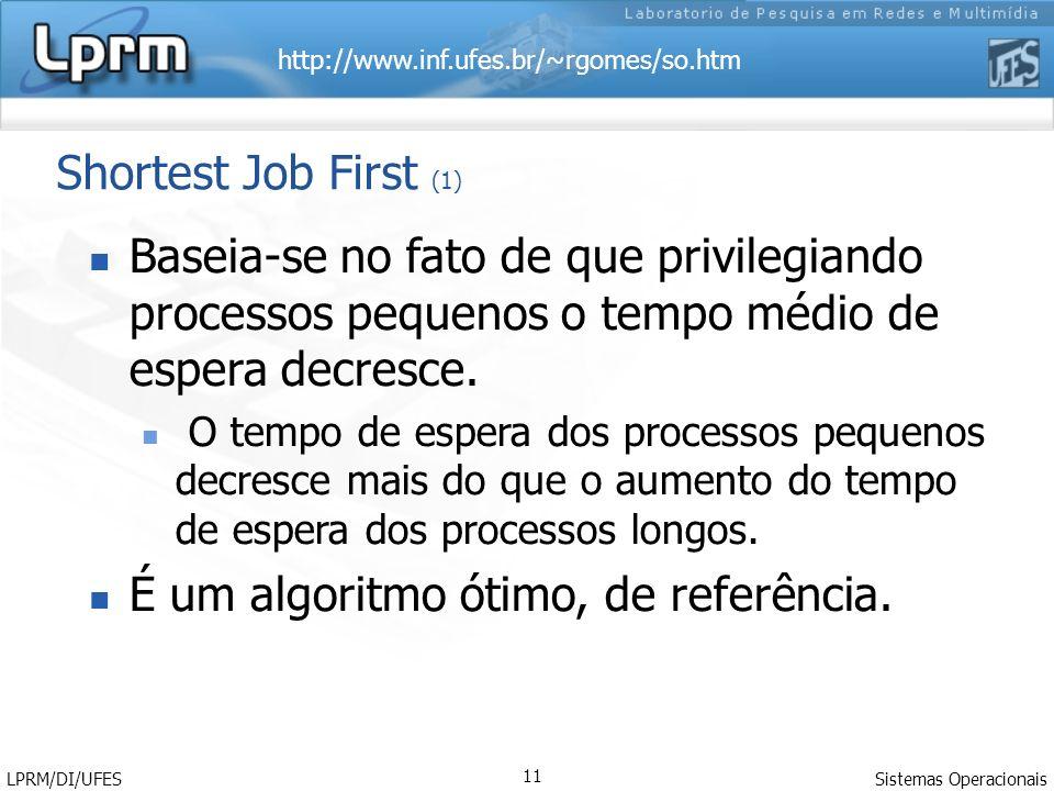 http://www.inf.ufes.br/~rgomes/so.htm Sistemas Operacionais LPRM/DI/UFES 11 Shortest Job First (1) Baseia-se no fato de que privilegiando processos pequenos o tempo médio de espera decresce.