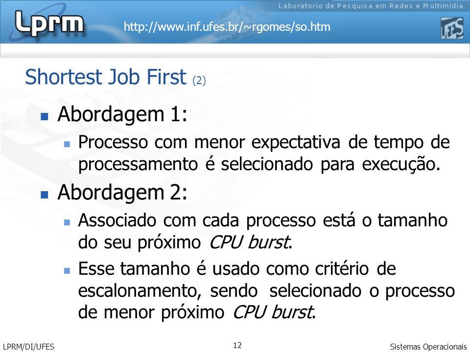 http://www.inf.ufes.br/~rgomes/so.htm Sistemas Operacionais LPRM/DI/UFES 12 Shortest Job First (2) Abordagem 1: Processo com menor expectativa de tempo de processamento é selecionado para execução.