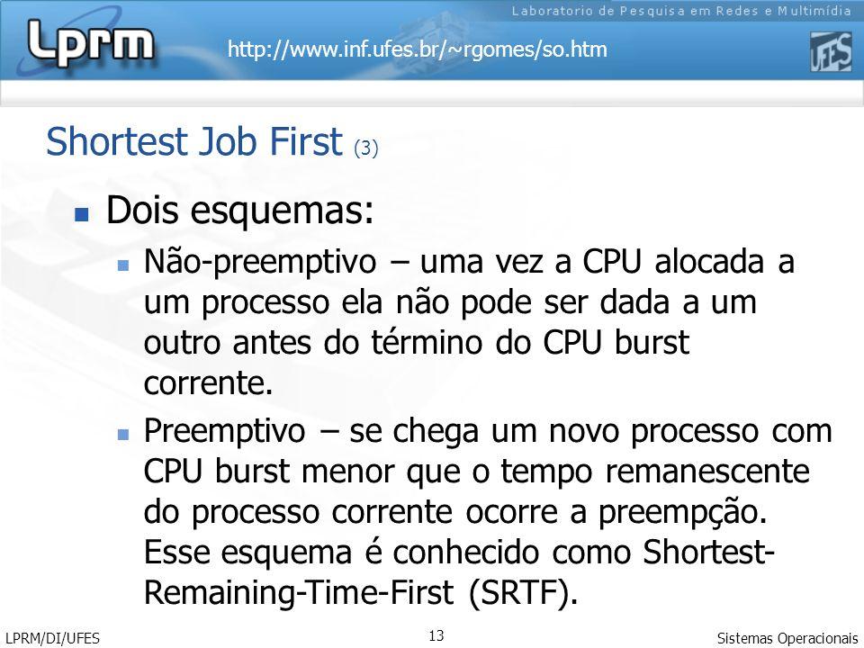 http://www.inf.ufes.br/~rgomes/so.htm Sistemas Operacionais LPRM/DI/UFES 13 Shortest Job First (3) Dois esquemas: Não-preemptivo – uma vez a CPU alocada a um processo ela não pode ser dada a um outro antes do término do CPU burst corrente.