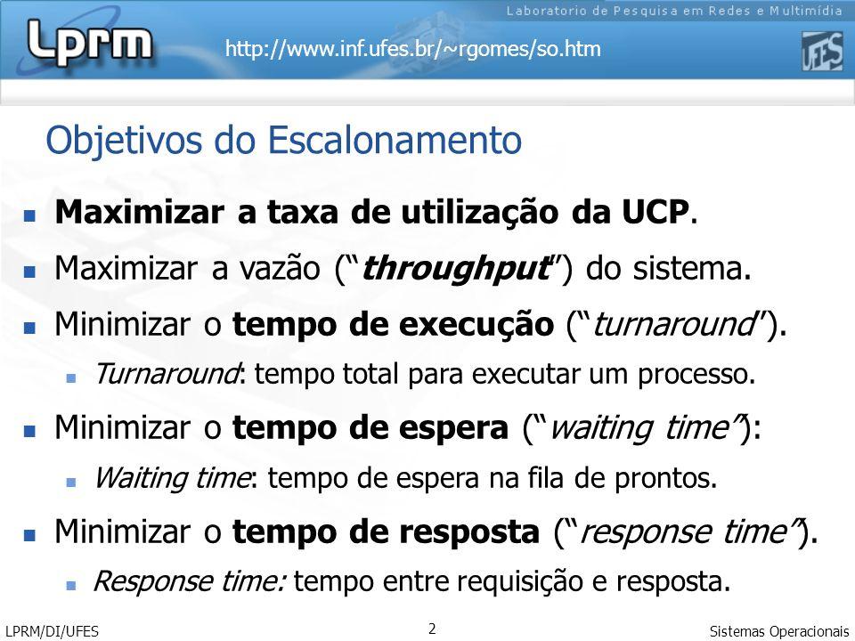 http://www.inf.ufes.br/~rgomes/so.htm Sistemas Operacionais LPRM/DI/UFES 2 Objetivos do Escalonamento Maximizar a taxa de utilização da UCP. Maximizar
