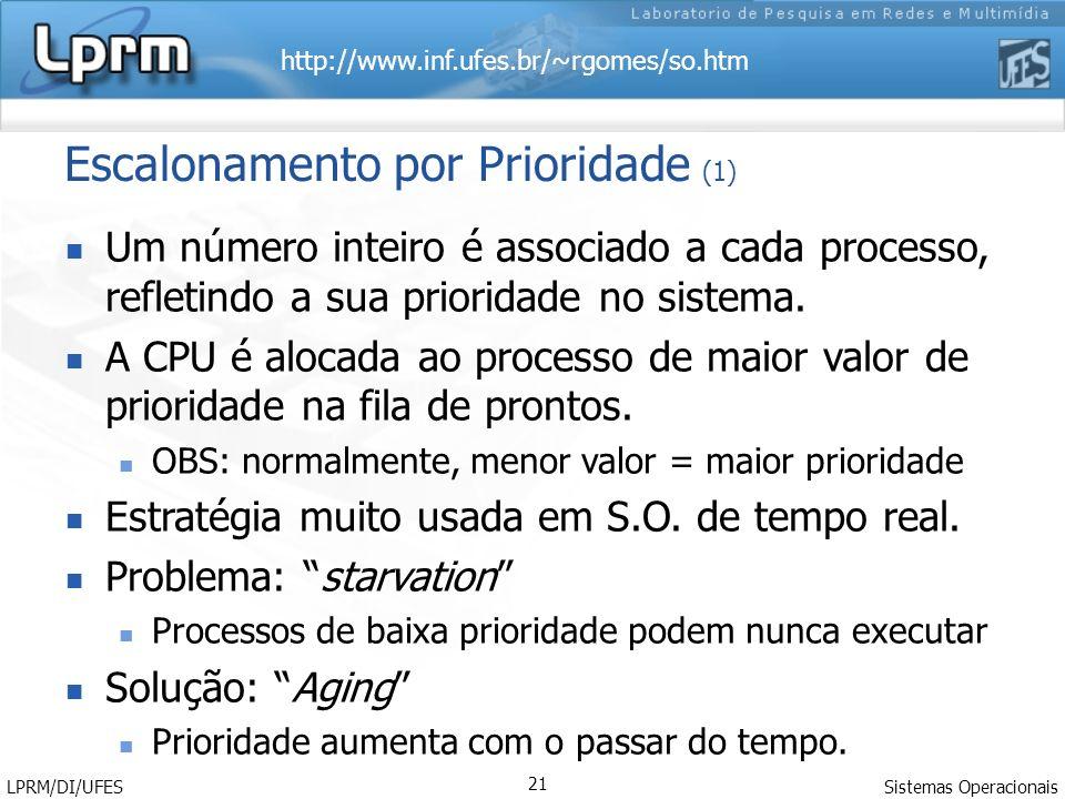 http://www.inf.ufes.br/~rgomes/so.htm Sistemas Operacionais LPRM/DI/UFES 21 Escalonamento por Prioridade (1) Um número inteiro é associado a cada processo, refletindo a sua prioridade no sistema.