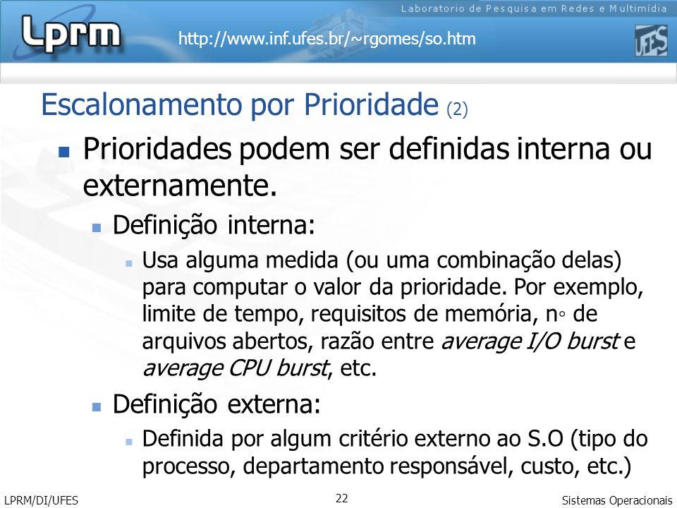 http://www.inf.ufes.br/~rgomes/so.htm Sistemas Operacionais LPRM/DI/UFES 22 Escalonamento por Prioridade (2) Prioridades podem ser definidas interna o