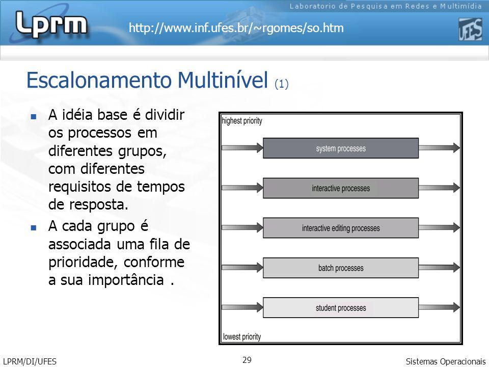 http://www.inf.ufes.br/~rgomes/so.htm Sistemas Operacionais LPRM/DI/UFES 29 Escalonamento Multinível (1) A idéia base é dividir os processos em diferentes grupos, com diferentes requisitos de tempos de resposta.
