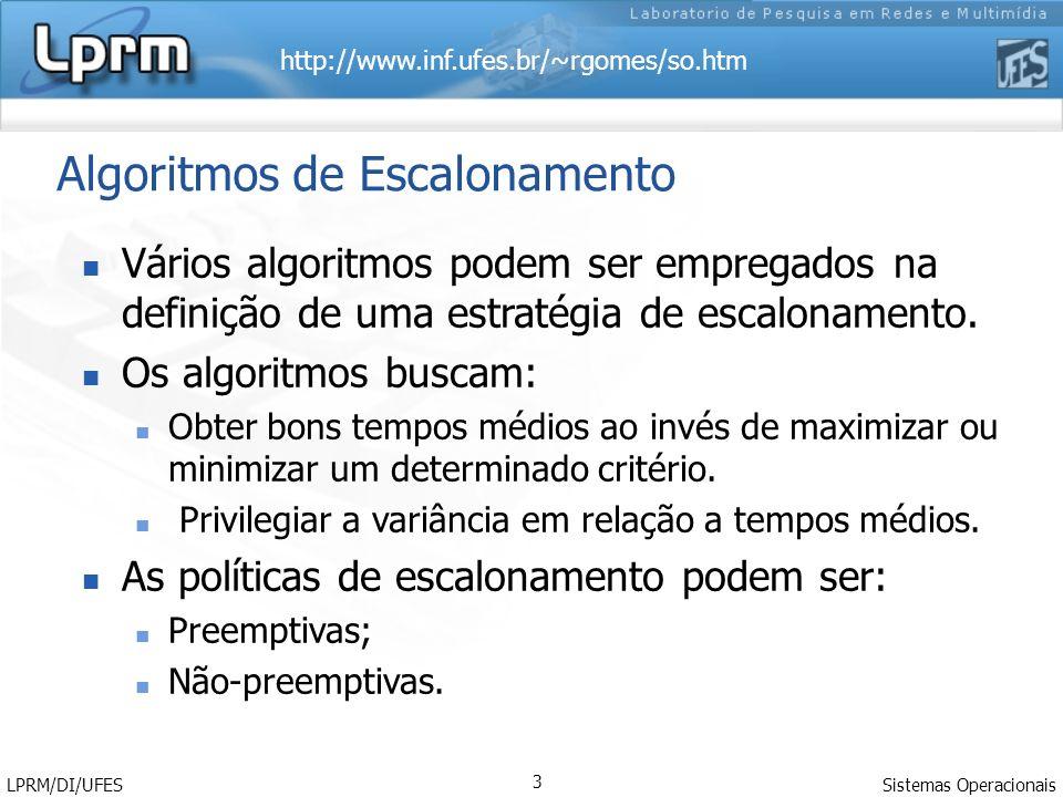 http://www.inf.ufes.br/~rgomes/so.htm Sistemas Operacionais LPRM/DI/UFES 3 Algoritmos de Escalonamento Vários algoritmos podem ser empregados na definição de uma estratégia de escalonamento.
