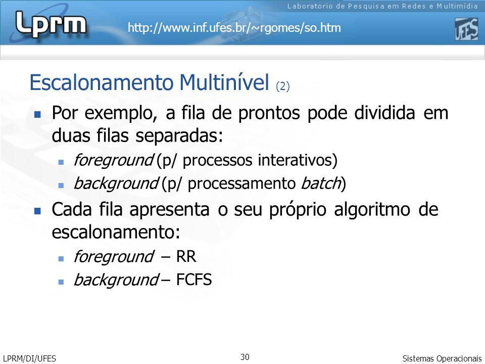 http://www.inf.ufes.br/~rgomes/so.htm Sistemas Operacionais LPRM/DI/UFES 30 Escalonamento Multinível (2) Por exemplo, a fila de prontos pode dividida em duas filas separadas: foreground (p/ processos interativos) background (p/ processamento batch) Cada fila apresenta o seu próprio algoritmo de escalonamento: foreground – background – RR FCFS