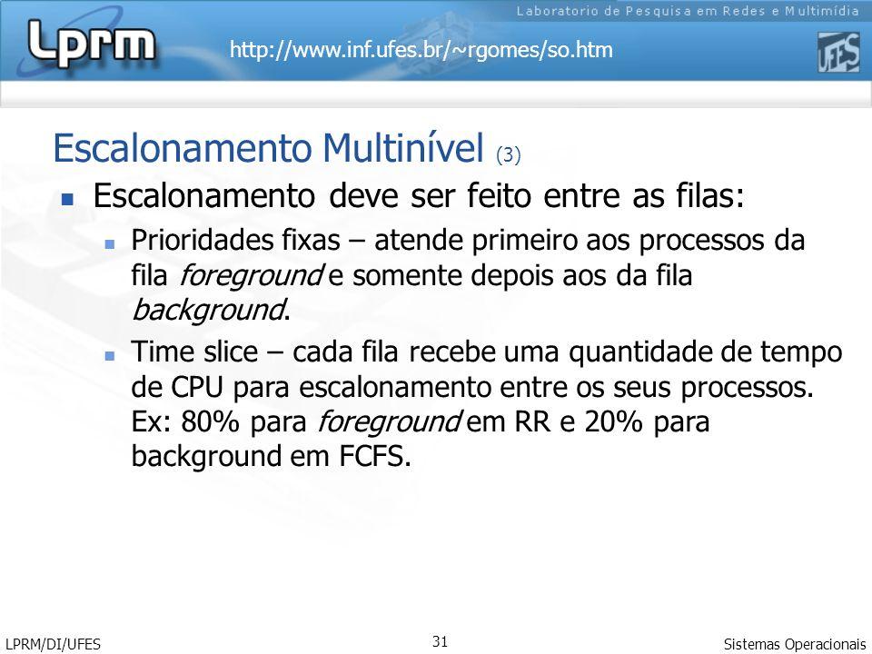 http://www.inf.ufes.br/~rgomes/so.htm Sistemas Operacionais LPRM/DI/UFES 31 Escalonamento Multinível (3) Escalonamento deve ser feito entre as filas: Prioridades fixas – atende primeiro aos processos da fila foreground e somente depois aos da fila background.