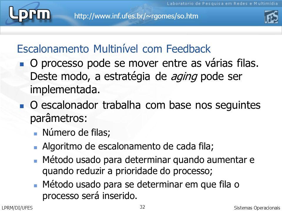 http://www.inf.ufes.br/~rgomes/so.htm Sistemas Operacionais LPRM/DI/UFES 32 Escalonamento Multinível com Feedback O processo pode se mover entre as várias filas.