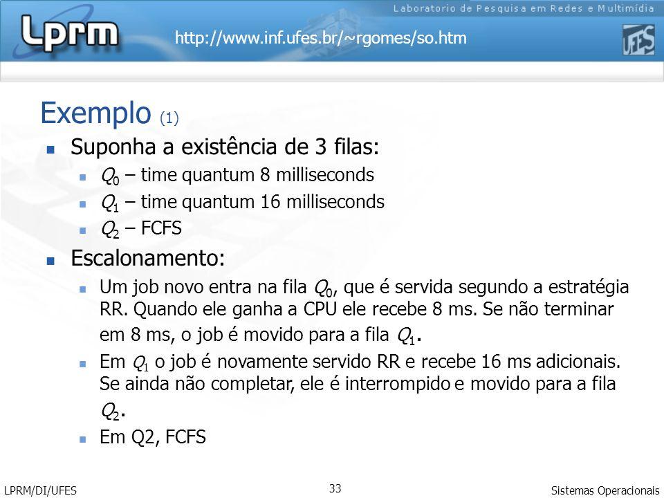 http://www.inf.ufes.br/~rgomes/so.htm Sistemas Operacionais LPRM/DI/UFES 33 Exemplo (1) Suponha a existência de 3 filas: Q 0 – time quantum 8 millisec