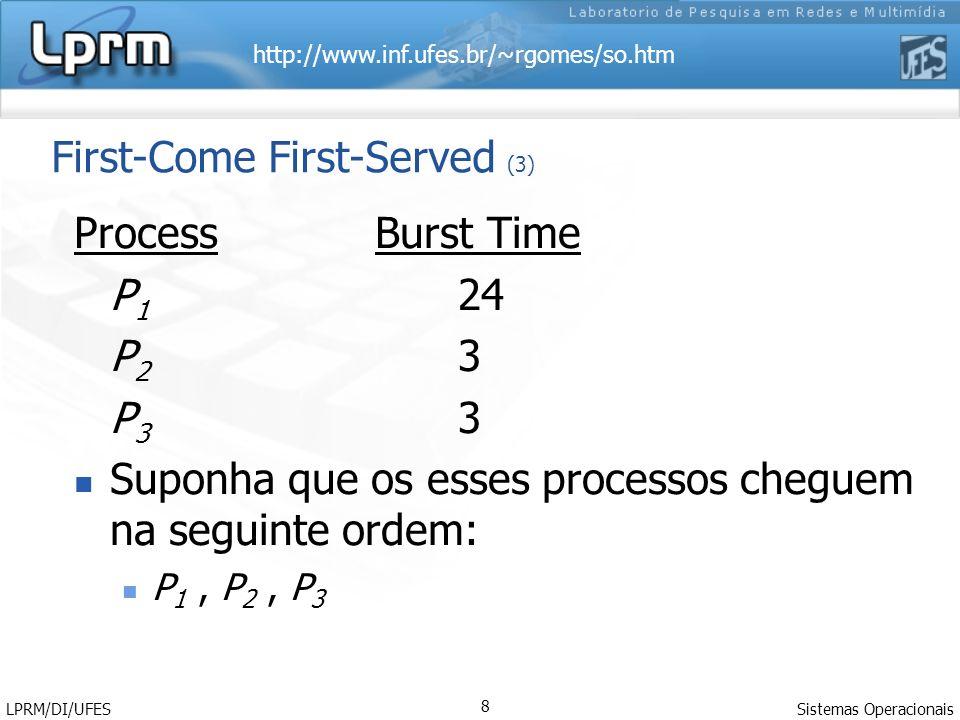 http://www.inf.ufes.br/~rgomes/so.htm Sistemas Operacionais LPRM/DI/UFES 8 First-Come First-Served (3) Process Burst Time P 1 24 P 2 3 P 3 3 Suponha que os esses processos cheguem na seguinte ordem: P 1, P 2, P 3