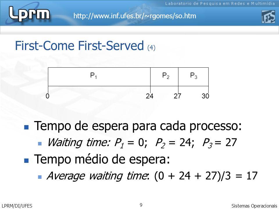 http://www.inf.ufes.br/~rgomes/so.htm Sistemas Operacionais LPRM/DI/UFES 9 First-Come First-Served (4) Tempo de espera para cada processo: Waiting time: P 1 = 0; P 2 = 24; P 3 = 27 Tempo médio de espera: Average waiting time: (0 + 24 + 27)/3 = 17 P1P1 P2P2 P3P3 2427300