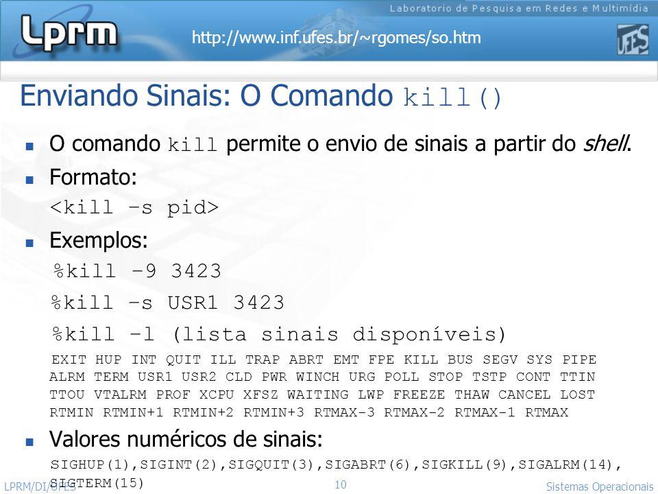 http://www.inf.ufes.br/~rgomes/so.htm 10 Sistemas Operacionais LPRM/DI/UFES Enviando Sinais: O Comando kill() O comando kill permite o envio de sinais