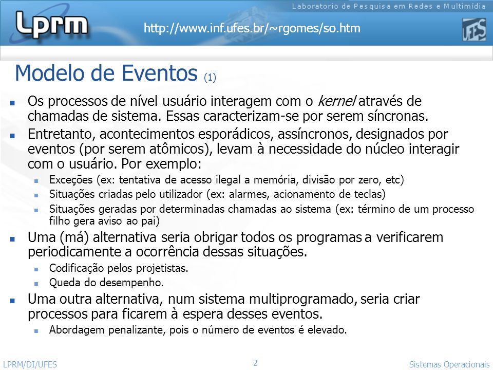 http://www.inf.ufes.br/~rgomes/so.htm 2 Sistemas Operacionais LPRM/DI/UFES Modelo de Eventos (1) Os processos de nível usuário interagem com o kernel