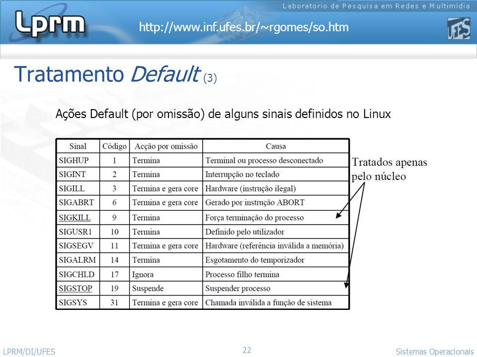 http://www.inf.ufes.br/~rgomes/so.htm 22 Sistemas Operacionais LPRM/DI/UFES Ações Default (por omissão) de alguns sinais definidos no Linux Tratamento