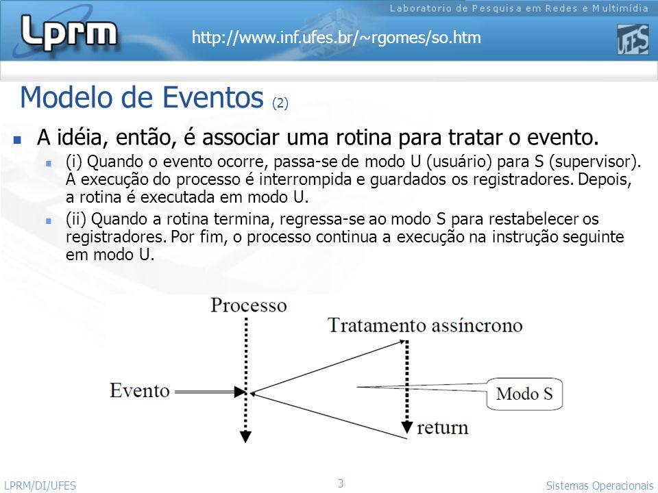 http://www.inf.ufes.br/~rgomes/so.htm 3 Sistemas Operacionais LPRM/DI/UFES Modelo de Eventos (2) A idéia, então, é associar uma rotina para tratar o e