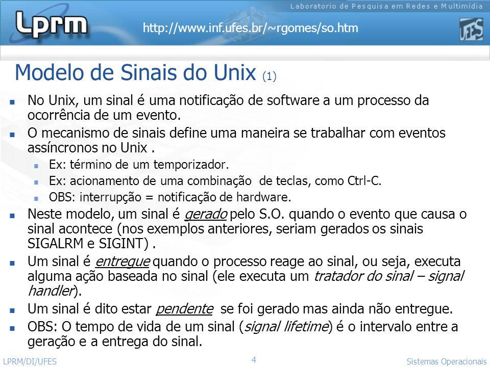 http://www.inf.ufes.br/~rgomes/so.htm 4 Sistemas Operacionais LPRM/DI/UFES Modelo de Sinais do Unix (1) No Unix, um sinal é uma notificação de softwar