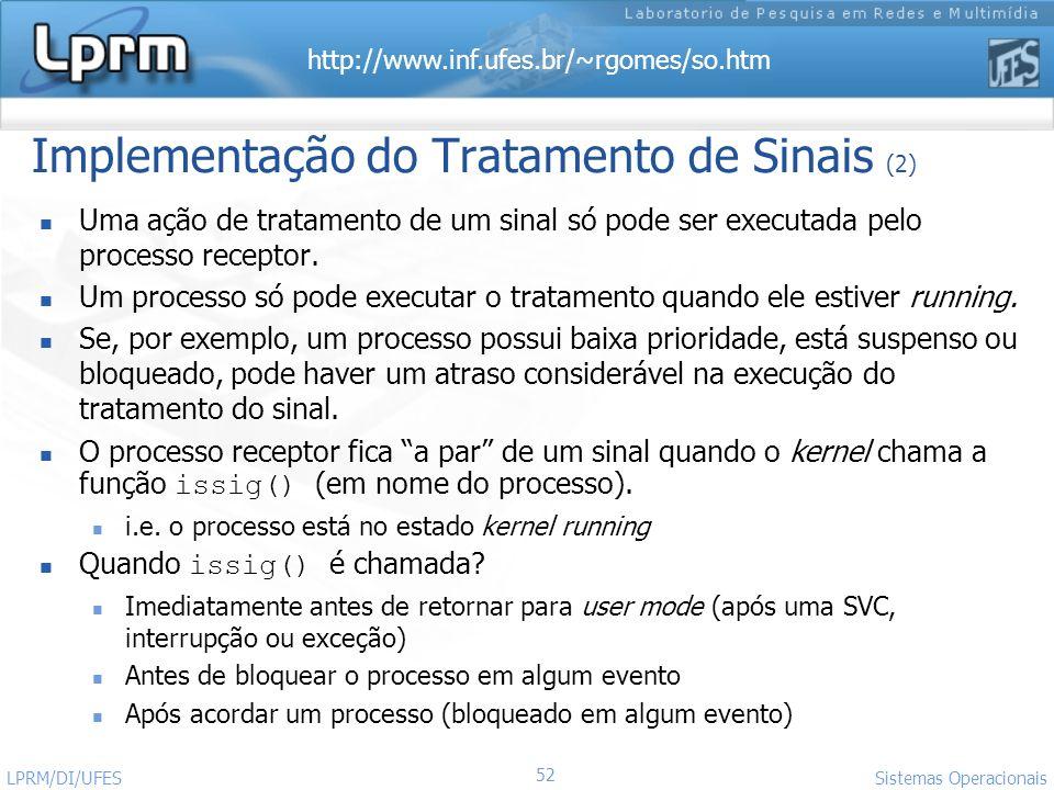 http://www.inf.ufes.br/~rgomes/so.htm 52 Sistemas Operacionais LPRM/DI/UFES Implementação do Tratamento de Sinais (2) Uma ação de tratamento de um sin