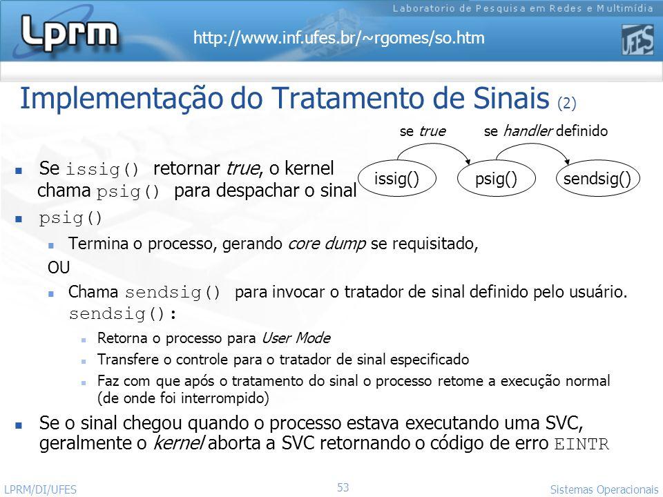 http://www.inf.ufes.br/~rgomes/so.htm 53 Sistemas Operacionais LPRM/DI/UFES Implementação do Tratamento de Sinais (2) Se issig() retornar true, o kern