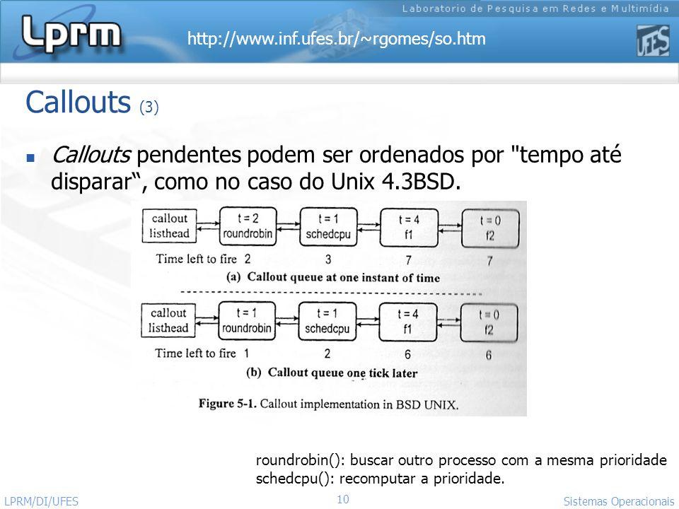 http://www.inf.ufes.br/~rgomes/so.htm Sistemas Operacionais LPRM/DI/UFES 10 Callouts (3) Callouts pendentes podem ser ordenados por