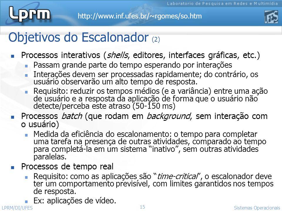http://www.inf.ufes.br/~rgomes/so.htm Sistemas Operacionais LPRM/DI/UFES 15 Objetivos do Escalonador (2) Processos interativos (shells, editores, inte