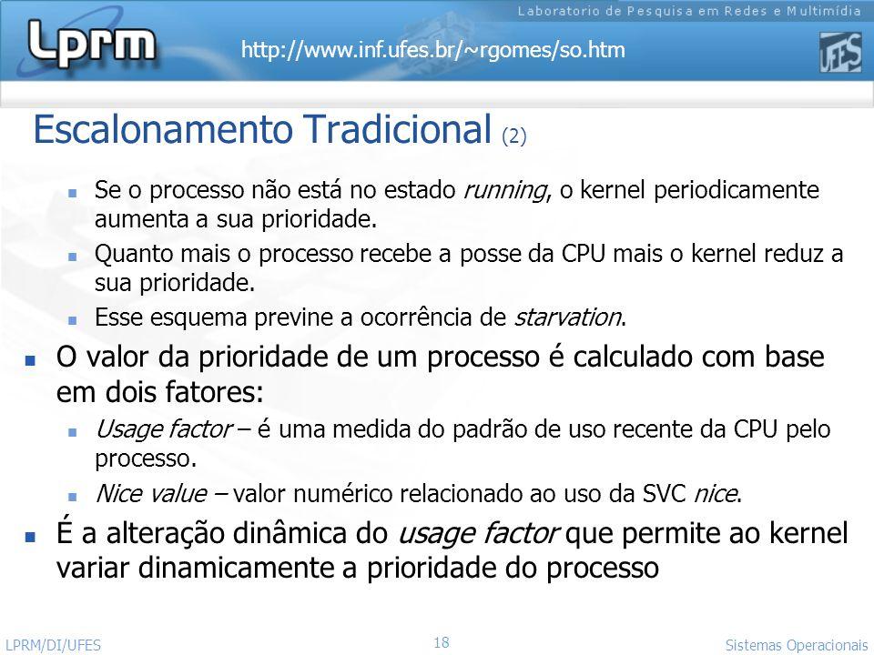 http://www.inf.ufes.br/~rgomes/so.htm Sistemas Operacionais LPRM/DI/UFES 18 Escalonamento Tradicional (2) Se o processo não está no estado running, o