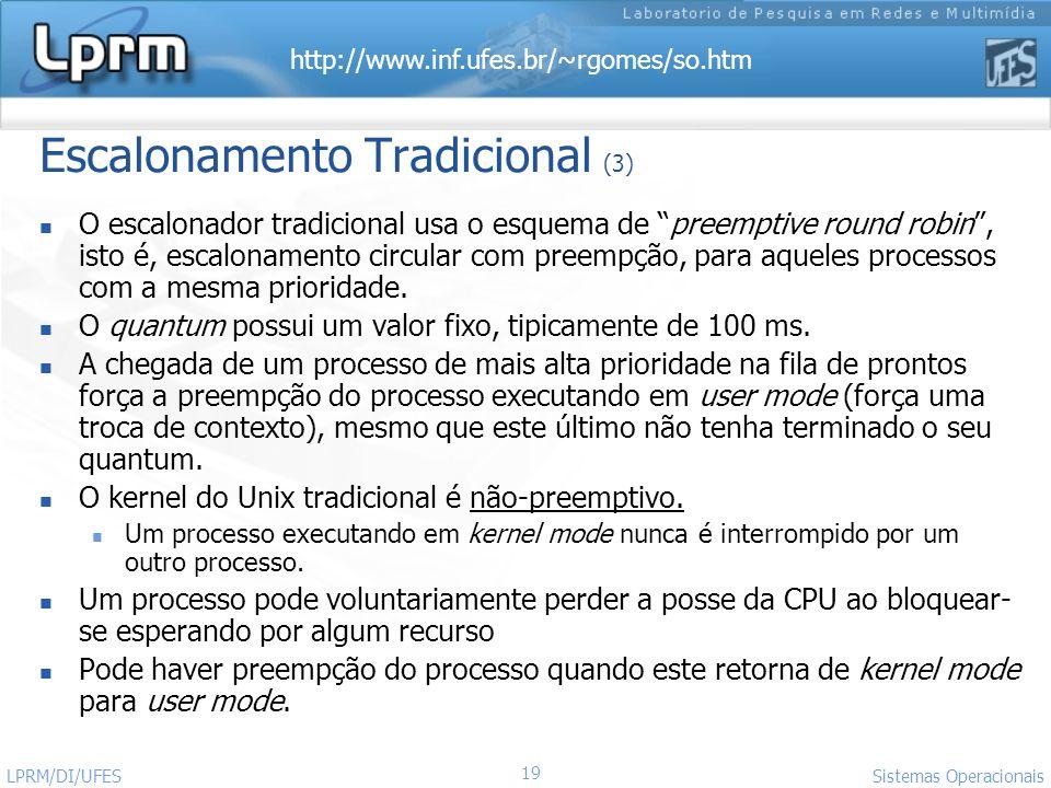 http://www.inf.ufes.br/~rgomes/so.htm Sistemas Operacionais LPRM/DI/UFES 19 Escalonamento Tradicional (3) O escalonador tradicional usa o esquema de p