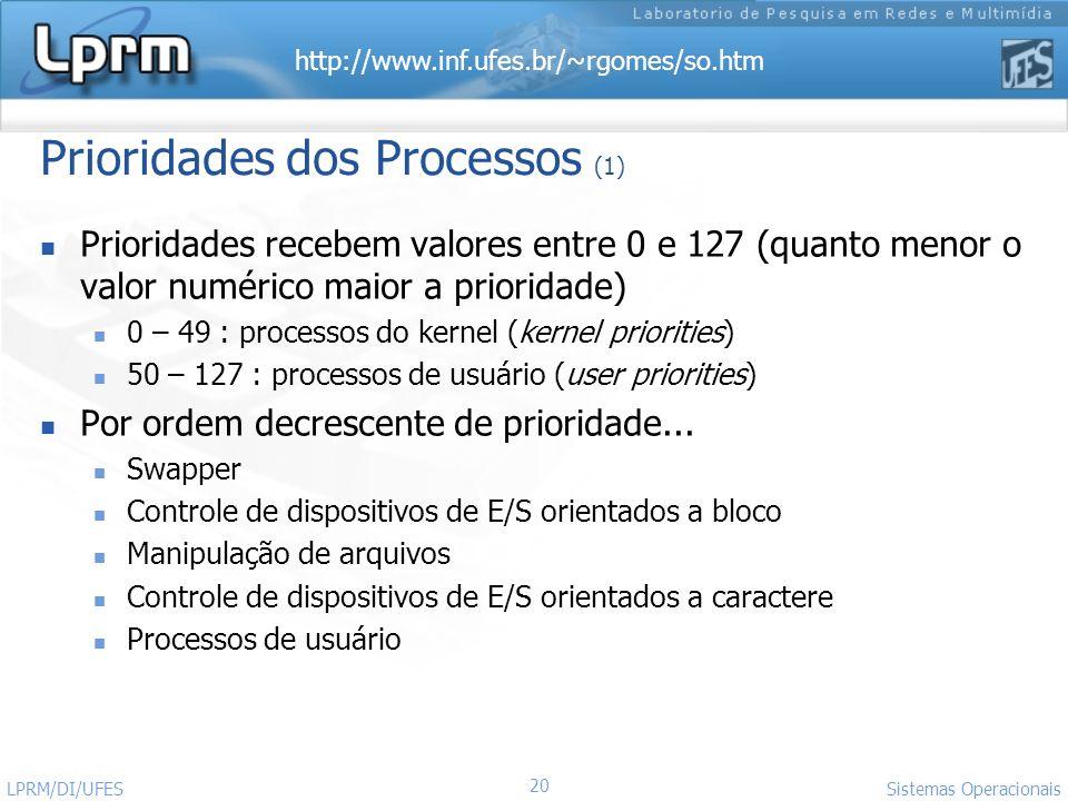 http://www.inf.ufes.br/~rgomes/so.htm Sistemas Operacionais LPRM/DI/UFES 20 Prioridades dos Processos (1) Prioridades recebem valores entre 0 e 127 (q